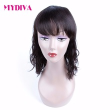 Mydiva Brazilian Non-remy Human Hair Wig Natural Wave 130% Density None Lace Wig With Natural Color Free Shipping