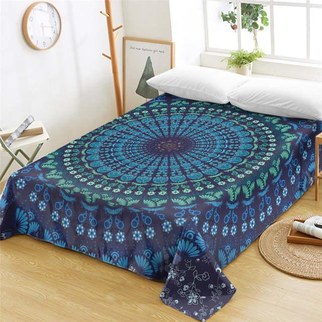 Placeholder Beddingoutlet Mandala Queen Bed Sheets One Piece Purple Blue Flat Sheet Soft Bedding Bedspreads Fl Bohemian