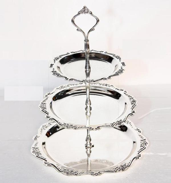 Free shipping 3 tier silver plated cake stand cake tray dessert plate cake pallet fruit stand & Free shipping 3 tier silver plated cake stand cake tray dessert ...