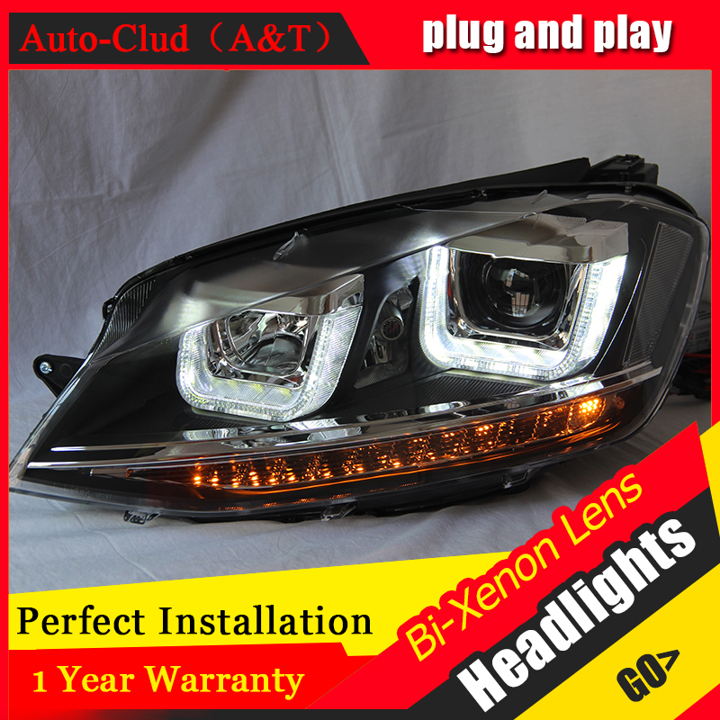 Auto Clud Car Styling for VW Golf7 Headlights Golf 7 MK7 LED Headlight DRL Lens Double Beam H7 HID Xenon bi xenon lens high quality car styling case for vw beetle 2013 2014 headlights led headlight drl lens double beam hid xenon car accessories