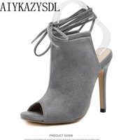 AIYKAZYSDL Fashion Women High Heel Pumps Peep Toe Bootie Shoes Gladiator Sandals Slingback Ankle Strap Shoes Stilettos Party