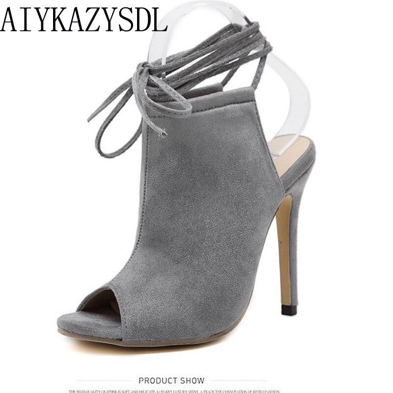 AIYKAZYSDL Moda Kadın Yüksek Topuk Pompaları Peep Toe Bootie Ayakkabı Gladyatör Sandalet Slingback Ayak Bileği Kayışı Ayakkabı Stilettos Parti