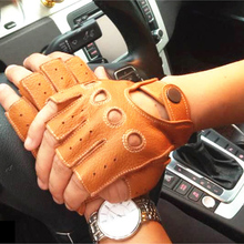 New Style Genuine Leather Men's Gloves Spring Summer Driving Anti-Slip Imitation Deerskin Male Semi-Finger Sheepskin Gloves M045 high quality genuine leather men s semi finger gloves anti slip driving breathable fitness deerskin gloves male d0132 9m