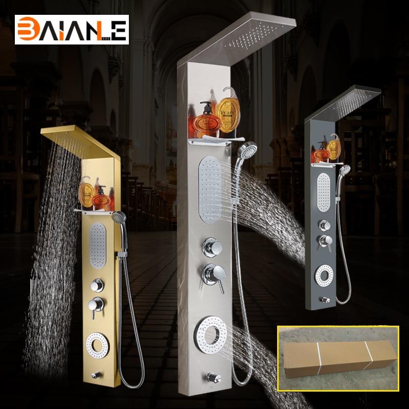 Shower Panel Gold/Black/Brushed Stainless Steel Shower Head Bathroom Shower Column Multifunction Shower Faucet set