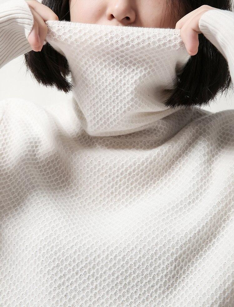 Femmes Pull De 100 3xl white Tricot Black Chandail Réticulation 44 Rose S Nouvelle Nervure Chèvre Mode Collier 34 pink Piles Cachemire z4w48xfq