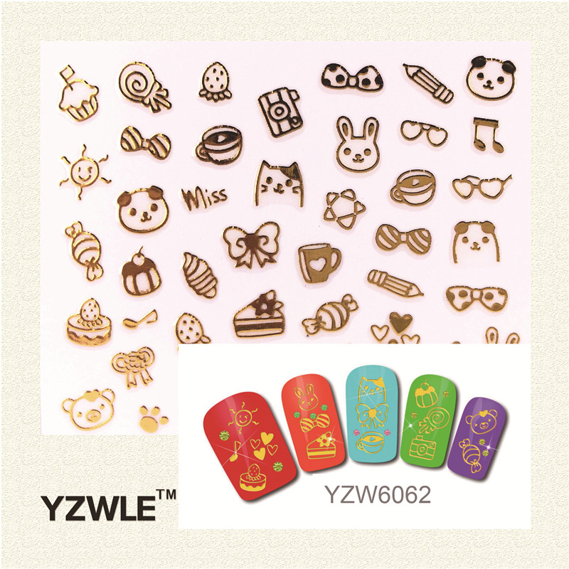 YZWLE 1 Pc 3D DIY Golden cartoon images Fashion Nail Sticker For 2016 New Sticker new arrival cartoon images girl fashion black
