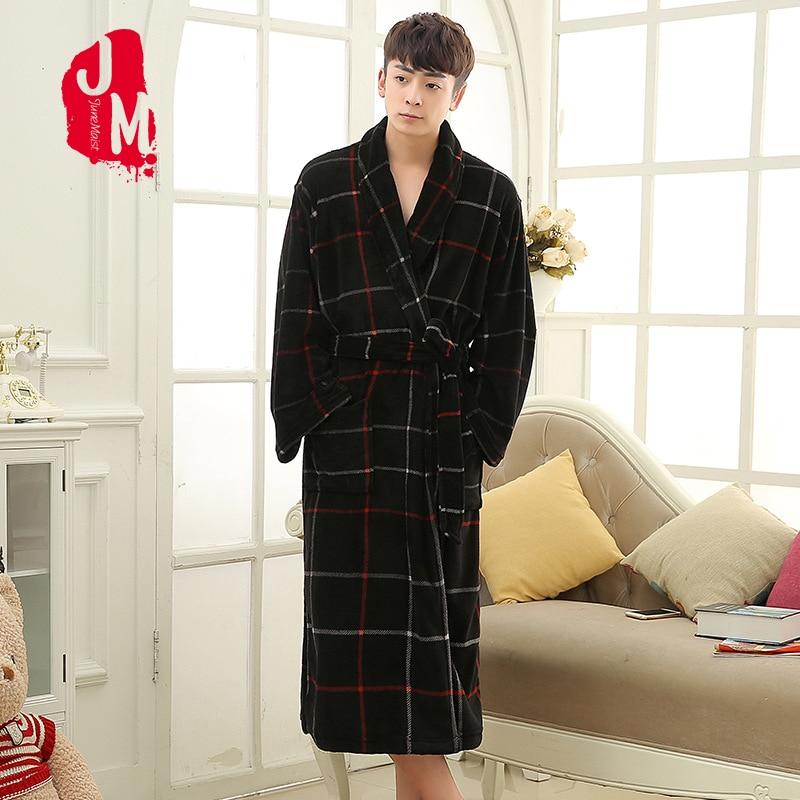 Men's Winter Robe Fleece Plush Lengthened Shawl Warm Bathrobe Home Clothes Long Sleeved Robe Men Robe Flannel Robe Wedding XXXL