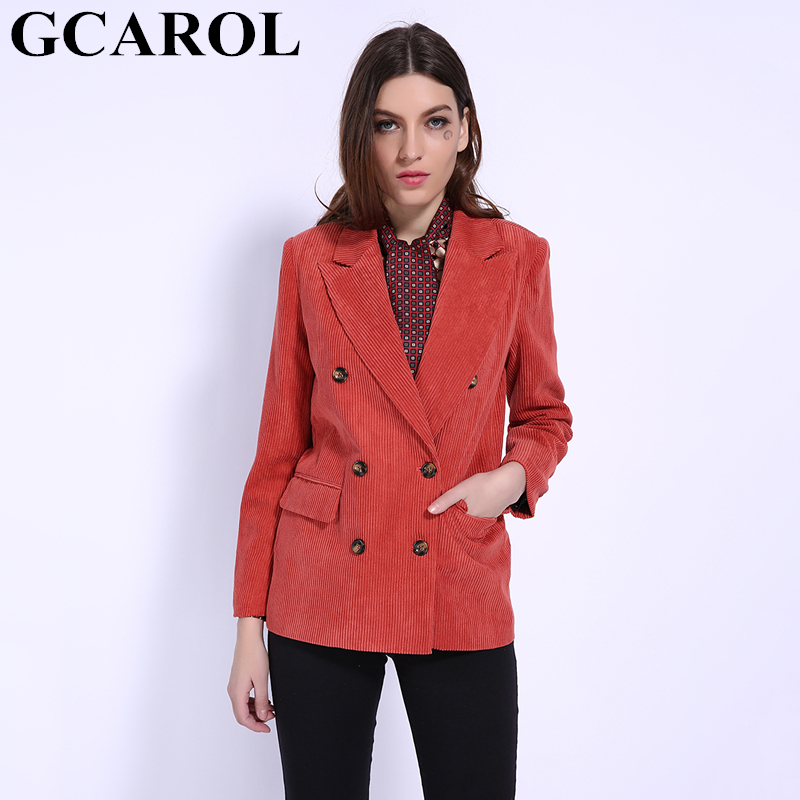 GCAROL 2019 Fall Winter Women Double Breasted Suit Elegant OL Corduroy Blazer 2 Pockets Streetwear  Feminino Handsome Jackets