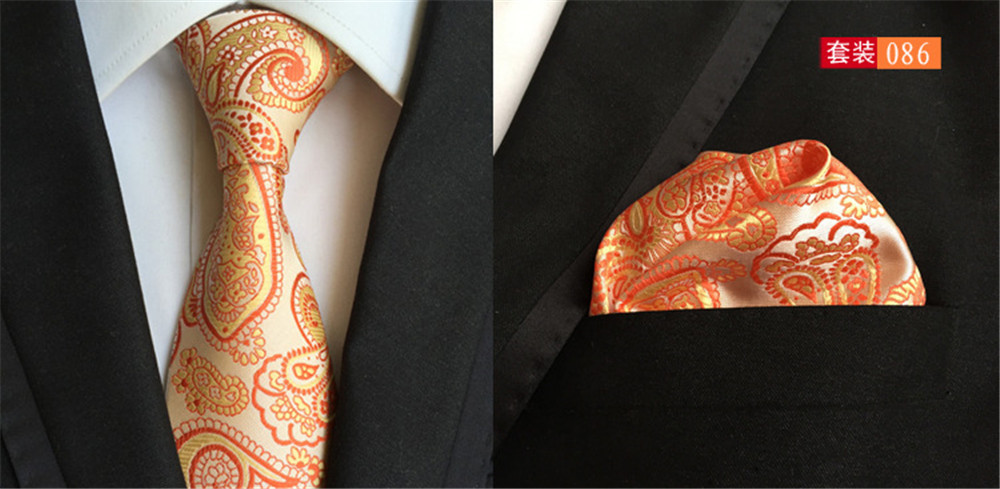 Gentle Cityraider Orange Floral Print New Neck Tie Mens Silk Necktie Ties For Men Neckties Pocket Square With Match Tie 2pcs Set Cr016 To Be Renowned Both At Home And Abroad For Exquisite Workmanship Apparel Accessories Skillful Knitting And Elegant Design