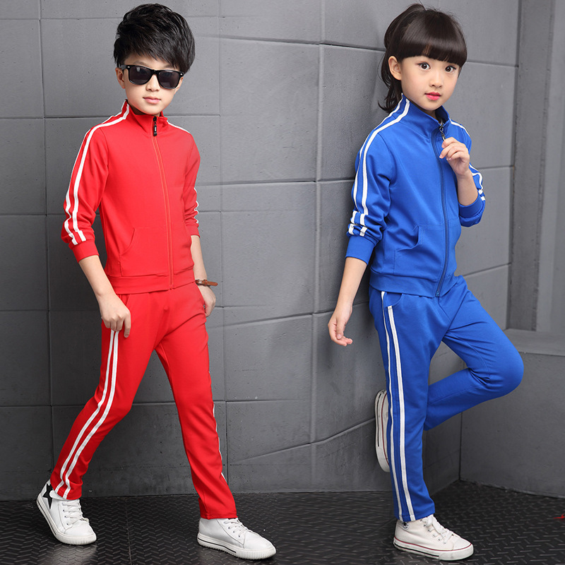 Image 4 - New Arrival Boys Clothing Sets Spring 2018 High Quality Childrens Pure Color Sports Suit Teenage Girl School Uniforms 6 15YearsClothing Sets   -