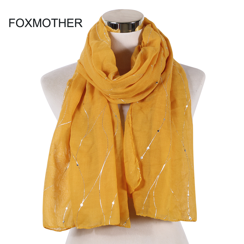 FOXMOTHER New Fashion Pink Yellow Foil Sliver Striped Scarf Shawl Wraps Foulard  Womens Lady