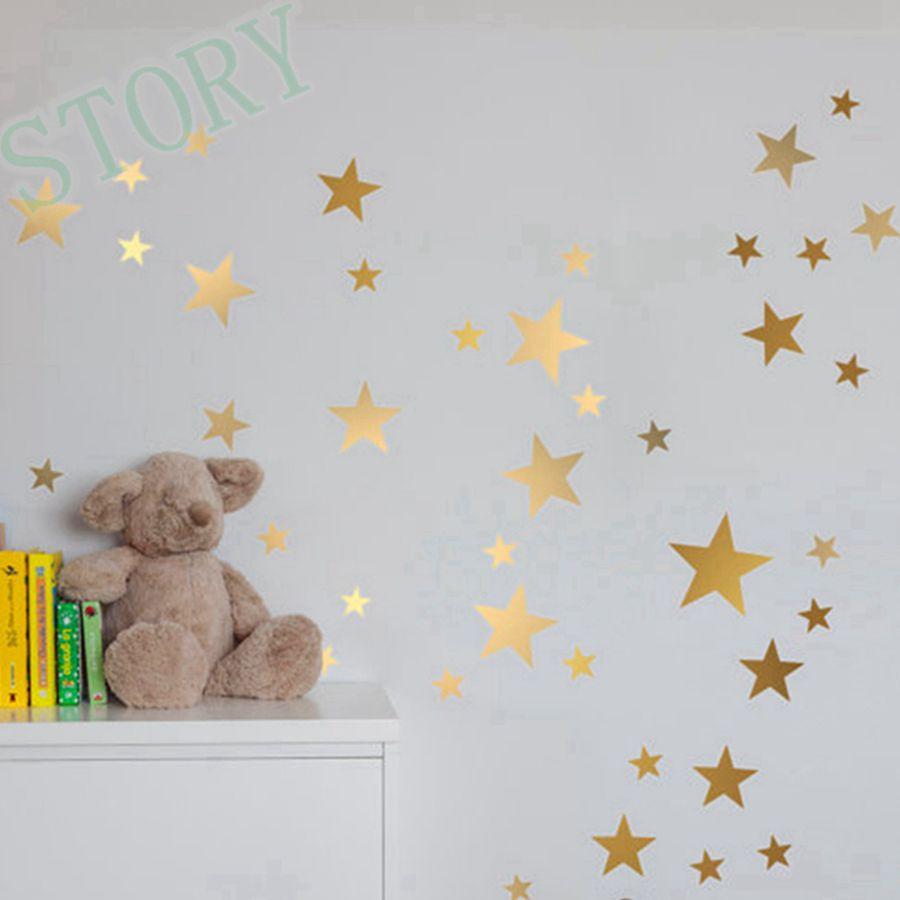 gold stars wall decal vinyl stickers golden star kids rooms wall art nursery decor stickers - Star Wall Decor