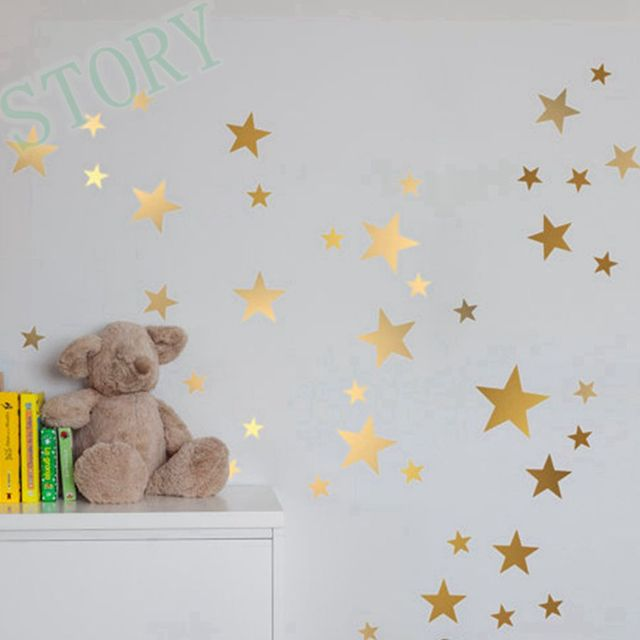 Wonderful Gold Stars Wall Decal Vinyl Stickers  Golden Star Kids Rooms Wall Art  Nursery Decor Stickers Part 21