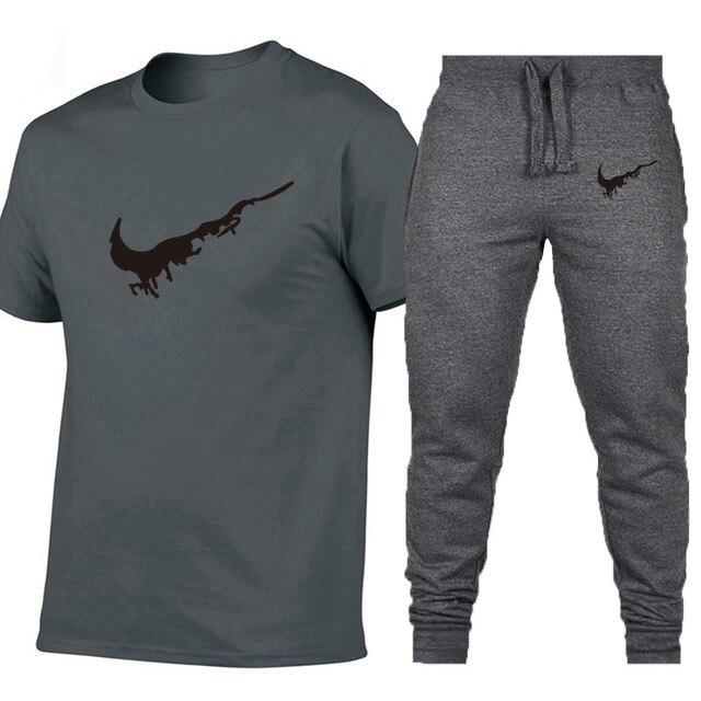 Wholesale 2019 New Black hip hop street extend men T-shirt +Pants Brand clothing summer cotton t shirts men oversize design