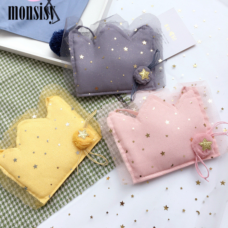 Monsisy Lolita Girl Lace Coin Purse Childrens Wallet Small Change Purse Kid Money Bag Coin Pouch Cute Lace Crown Baby Handbag