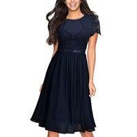 Women Vintage Dresses Summer Retro Chiffon Lace Slim Dress Elegant Party Dresses O Neck Short Sleeve