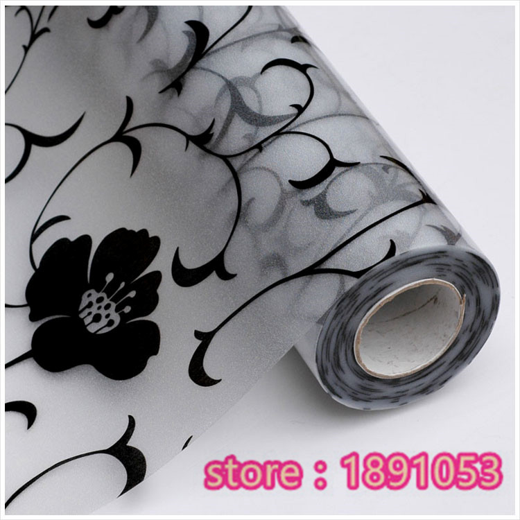 PVC 45x100cm black vine flower pattern film to the glass sliding ...