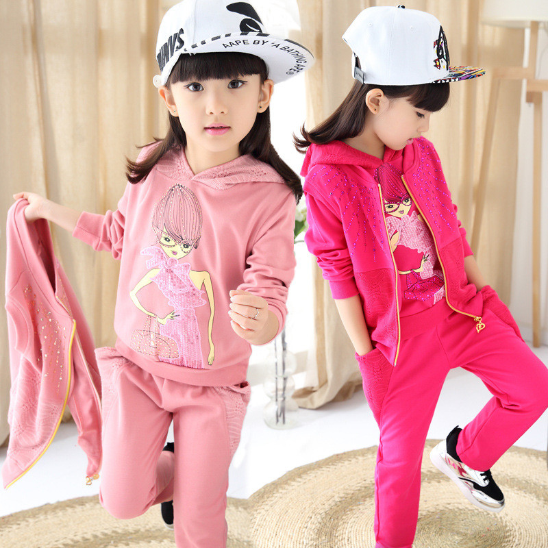 Baby Girls Christmas Hooded 3pcs set Autumn Winter Style Kids Cotton Fashion Printed School Tracksuit Uniform