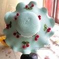 Mulheres Cereja Verão Dobrável Chapéu de Palha Chapéus de Sol Da Moda Chapéu de Praia Chapelaria Chapeu Feminino Camelo