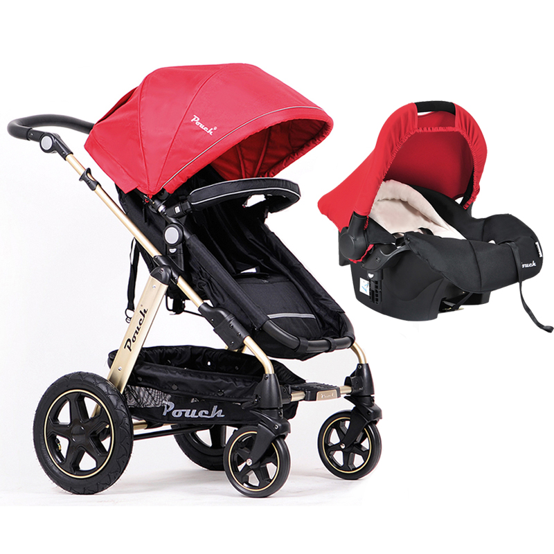 Pouch 3-in-1 Baby Stroller newborn baby Can Sit and Lie Child Cart High Landscape Baby Trolley Fold Summer belecoo bei li ke high landscape baby cart trolley can sit and fold the double direction shock 3 in 1 baby stroller