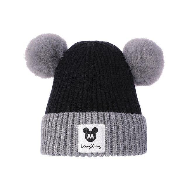 0344b739b1c Baby Hat Double Hair Ball Cute Boys Girls Warm Winter Wool Knit Beanie Fur  Pom Poms Children Thick For Kids Knitting Caps T2124