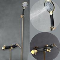 Matt Black+Gold Dual function Faucet Shower Set Brass Bath Shower Wall Mounted Cold And Hot Mixer Tap Leaf Design Shower Faucet