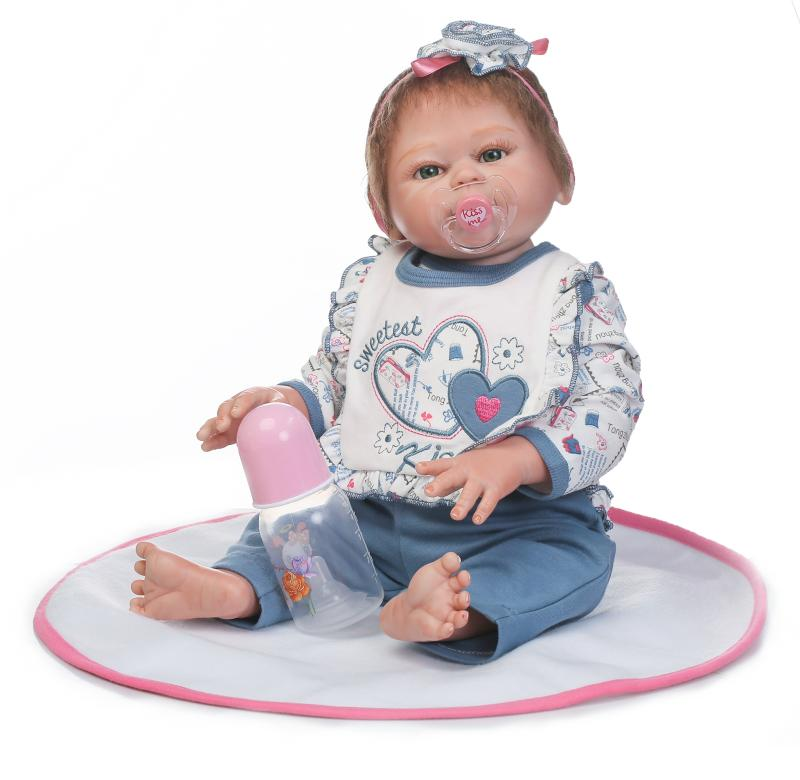 цены 50cm Full Body Silicone Reborn Babies Doll Toys Lifelike Newborn Princess Girl Baby Doll Kids Birthday Gift Bathe Toy