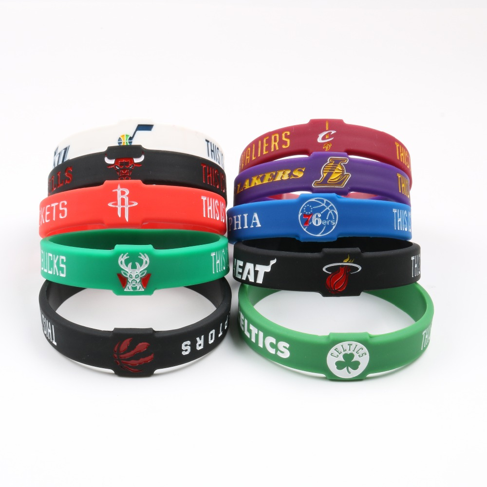 New Design Basketball Team Silicone Bracelets CAVALIERS WARRIORS ROCKETS CELTIC HEAT LAKERS BULLS Sport team Fashion Wristband