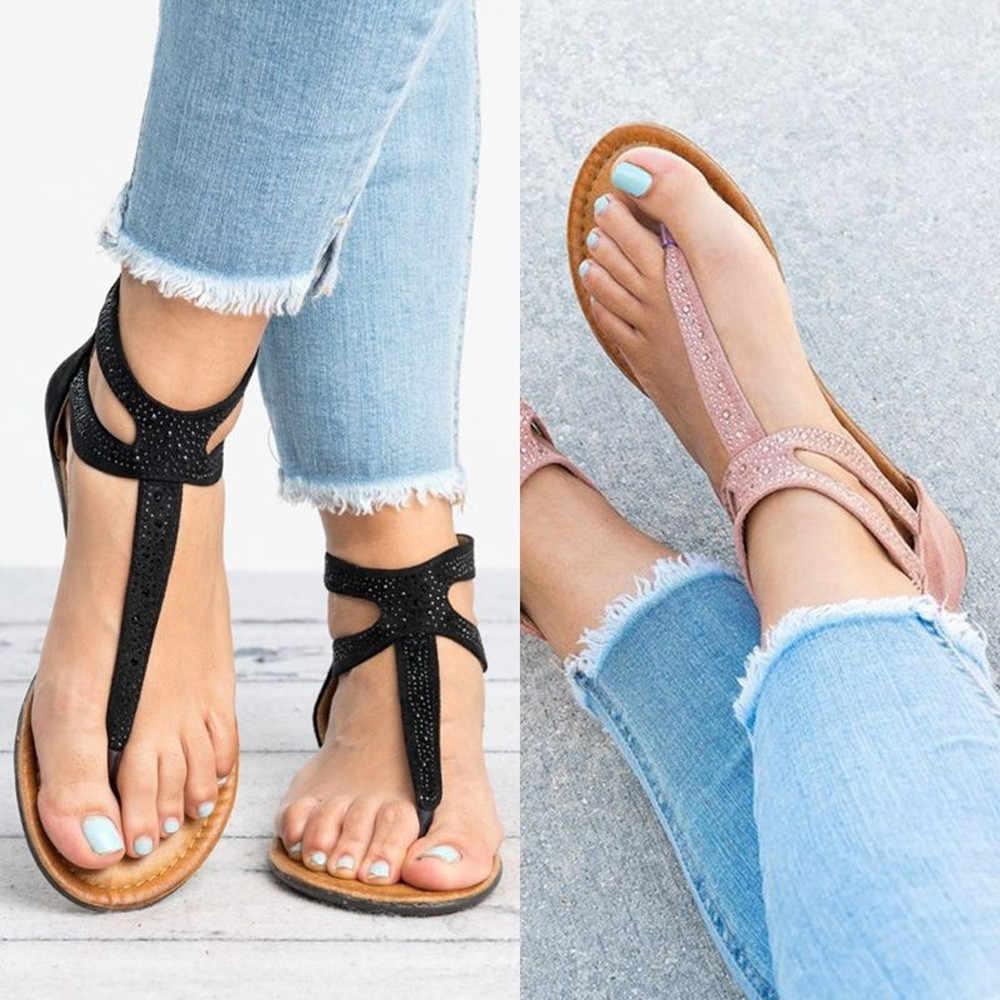 Kadınlar roma plaj sandaletleri 2020 yaz bayanlar etnik ayakkabı geri fermuar düz topuklu Flip flop Sandal Bohemia kızlar için ayakkabı rahat