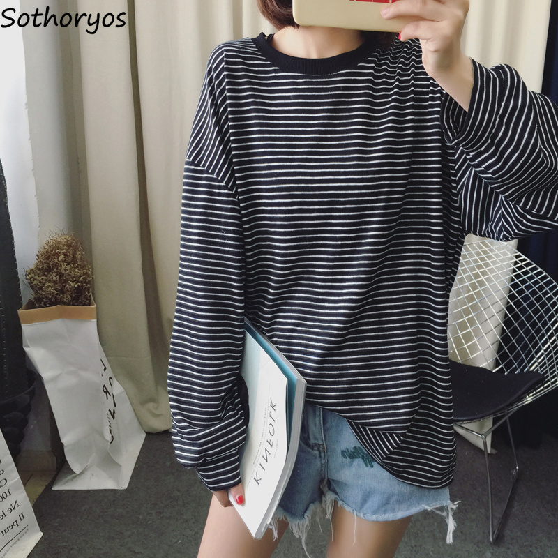 T-shirts Women 2018 Striped O-Neck Loose Retro Trendy Long Sleeve T Shirt Student Korean All-match Soft Womens Tops Casual Cute