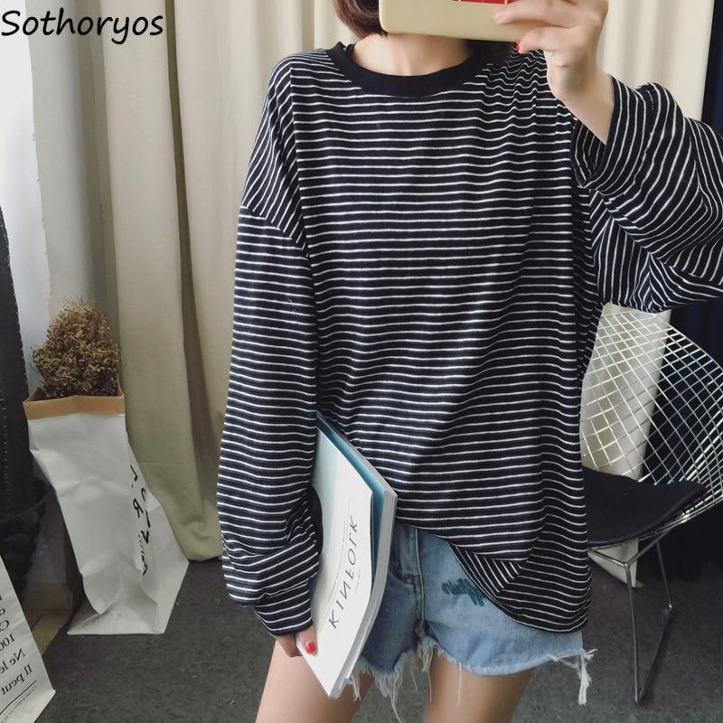 T-shirts Women 2019 Striped O-Neck Loose Retro Trendy Long Sleeve T Shirt Student Korean All-match Soft Womens Tops Casual Cute