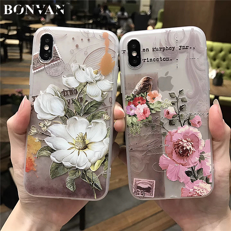 BONVAN 3D Relief Flower For iPhone X Case Cover Silicone tpu Soft Phone Cases For iPhone 8 7 6 6s...  iphone x cases 3d BONVAN font b 3D b font Relief Flower For font b iPhone b font font b