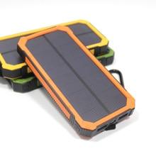 12000 mah banco de la energía solar a prueba de agua de viaje dual usb cargador solar de batería externa powerbank para iphone 6 s con led campamento luz