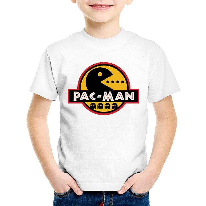 RüCksichtsvoll T-shirt Mädchen Kinder Jungen T-shirt Baby Mädchen Tops Rundhals Kinder Kleidung Der Pac Mann Essen Bohnen Kinder Camisetas