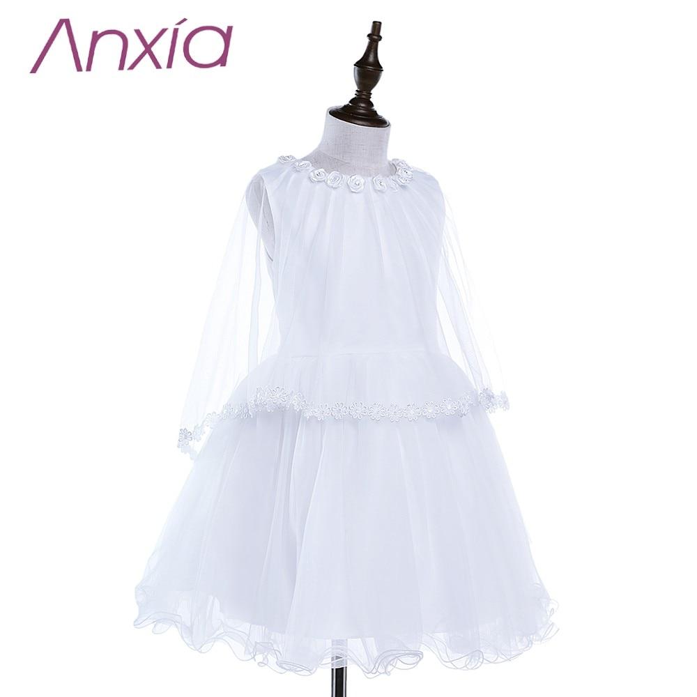 2016 Bijela Brand New Cvjetni Djevojka haljina s Cape Anxia Stvarni - Vjenčanje večernje haljine - Foto 3