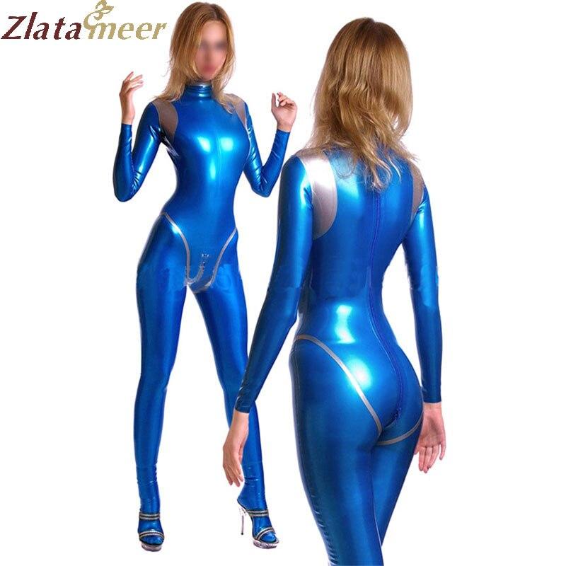 Le donne Blu catsuit del lattice sexy body costume con cerniera posteriore sotto il cavallo per adulti plus size Tuta Personalizzare Il Servizio