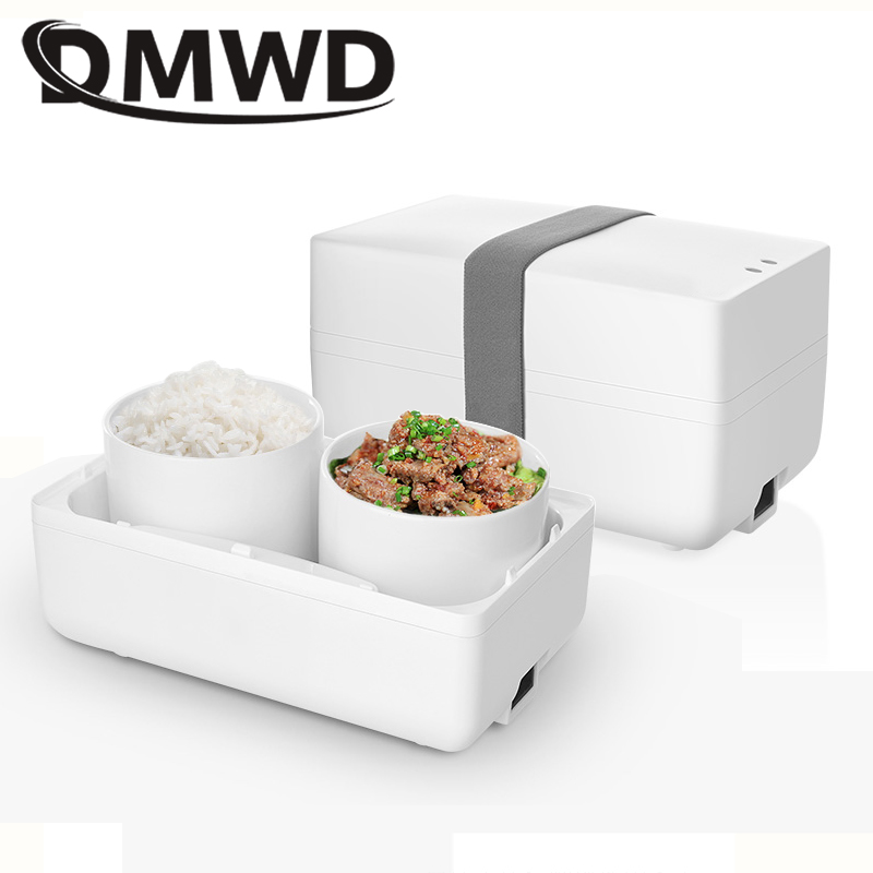 DMWD Electric Heat Insulation Thermo Lunch Box Mini Rice Cooker Ceramic Meal Container Bento Lunchbox Food Warmer Heater EU plug bear dfh s2516 electric box insulation heating lunch box cooking lunch boxes hot meal ceramic gall stainless steel