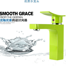 Free shipping Green color solid brass colour basin taps with polished chrome bathroom basin sink mixer tap  , water faucet