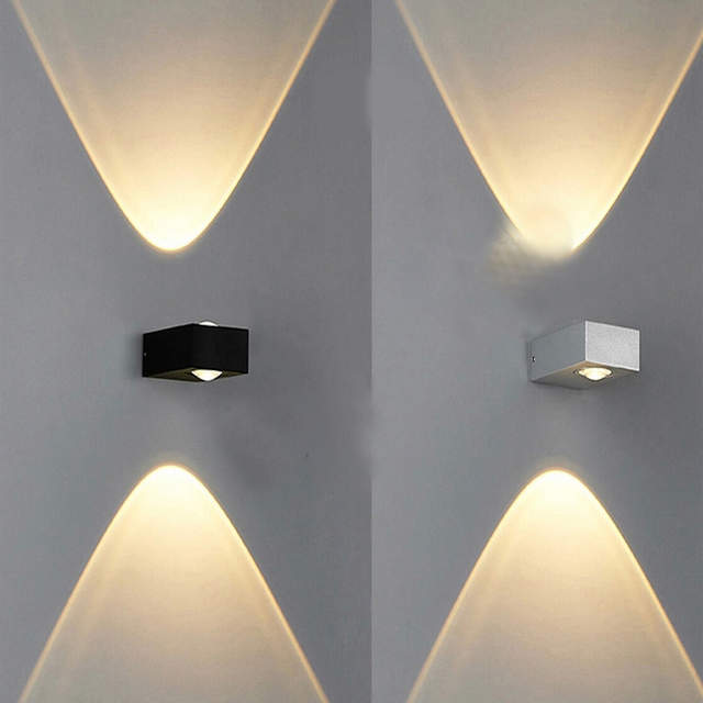 US $14 9 |Free shipping aluminum modern COB 6W bedroom LED wall lamp light  direct upward and downward warm white for sales-in LED Indoor Wall Lamps