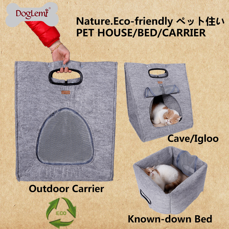 DogLemi 3 in 1 Multifunctional Indoor Puppy Dog Cat House Bed Pet Playing Cave Kennel Foldable Outdoor Pet Carrier