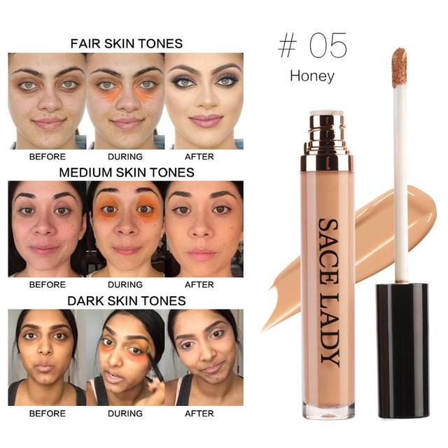SACE LADY Full Cover Pro Makeup Concealer Cream Face Corrector Liquid Make Up Base For Eye Dark Circles Facial Natural Cosmetic 4