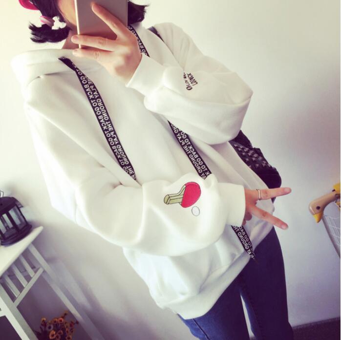 Hoodie mit Kapuze Frauen Hoodies Netter Muster Bestickt Buchstaben Kordelzug Straße Sweatshirts