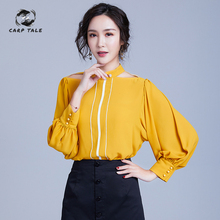 Spring lantern sleeves hanging neck stand collar loose contrast color chiffon shirt women's new sexy hollow long-sleeved shirt diamond collar long sleeves chiffon shirt black