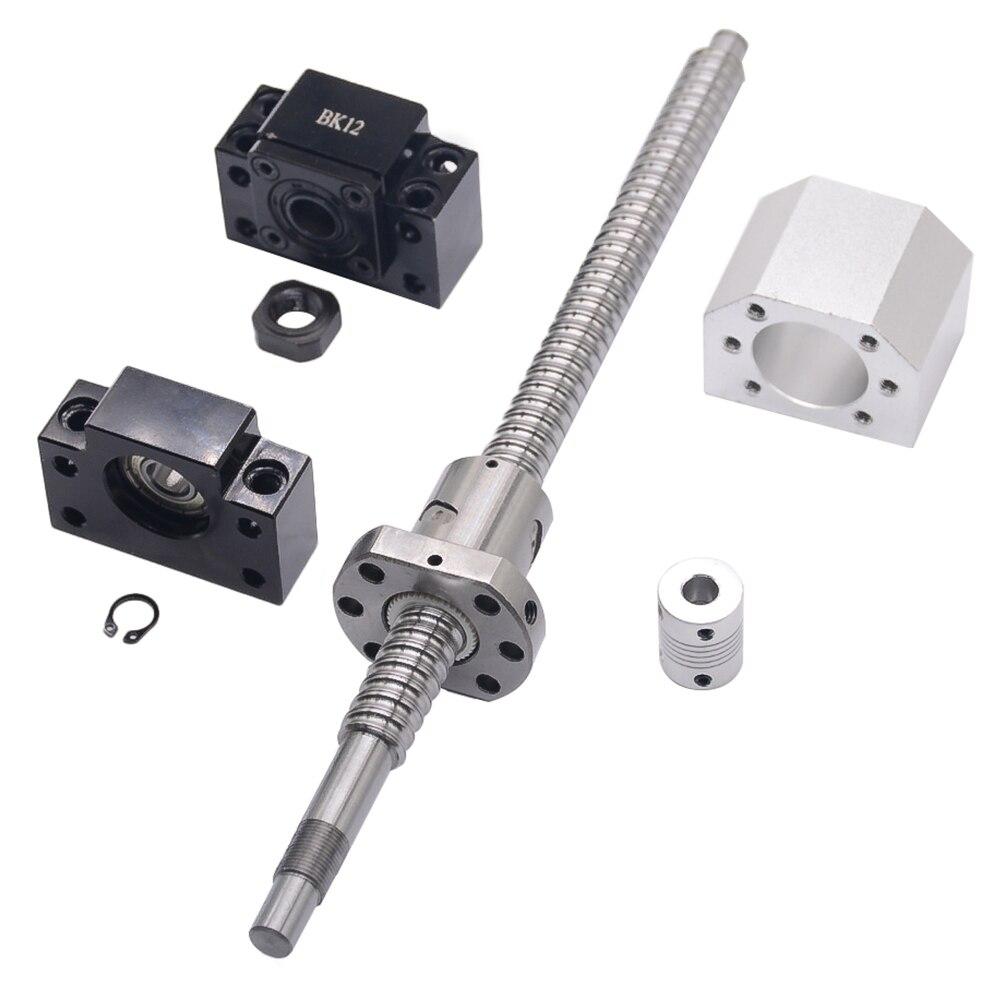 SFU1605 ensemble: SFU1605 vis à billes roulées C7 avec extrémité usinée + 1605 écrou à billes + boîtier d'écrou + support d'extrémité BK/BF12 + coupleur RM1605