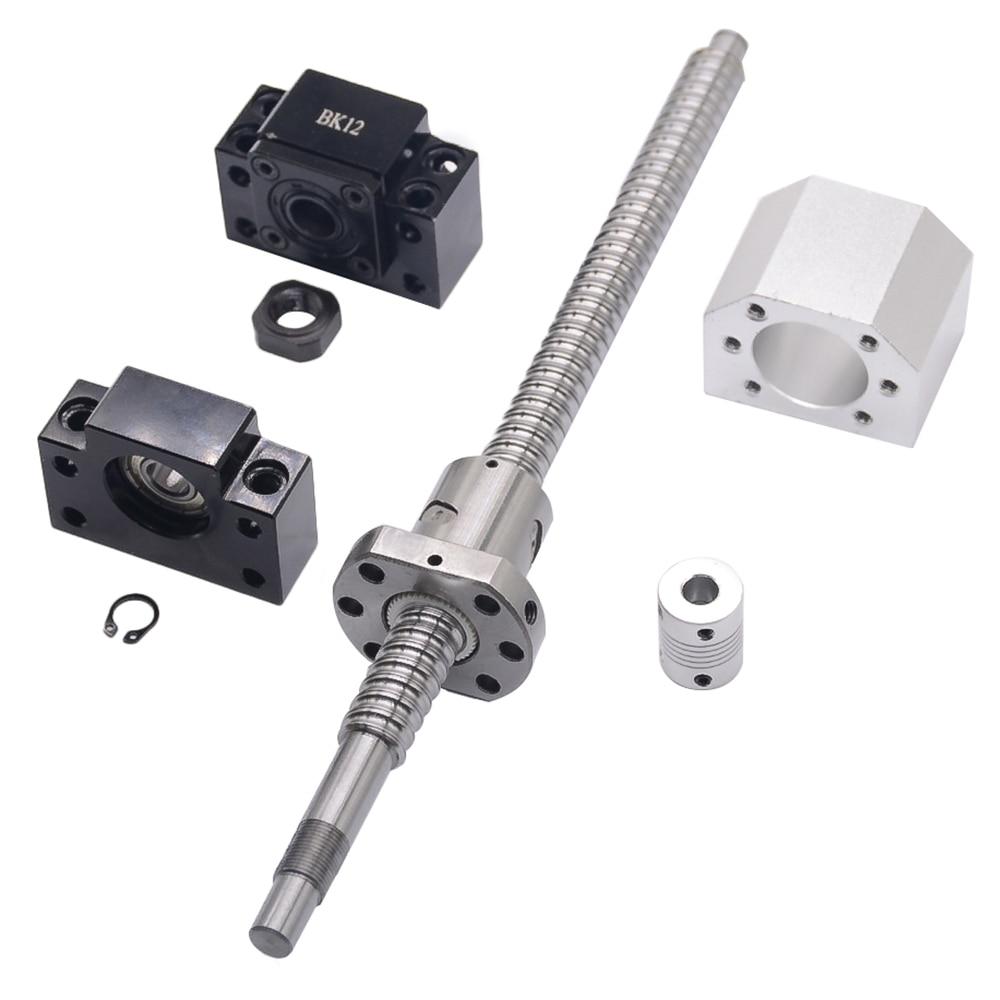 SFU1605 set: SFU1605 tornillo de bola laminado C7 con end mecanizada + 1605 tuerca de la bola + tuerca + BK/BF12 final soporte + acoplador RM1605