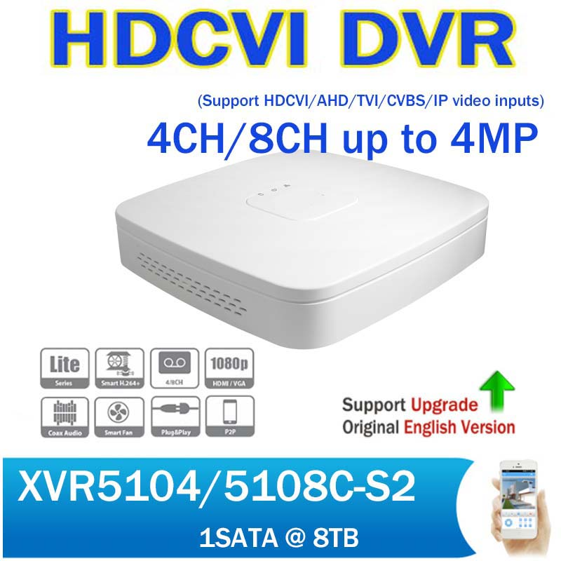 DH XVR Full HD 1080P 4CH 8CH Security CCTV Digital Video Recorder XVR5104C-S2 XVR5108C-S2 HCVR support HDCVI/ AHD/TVI/CVBS/IP dahua xvr video recorder 16ch 1080p replace nvr and dvr dh xvr7216an p2p support hdcvi ahd tvi cvbs ip 1u digital video recor