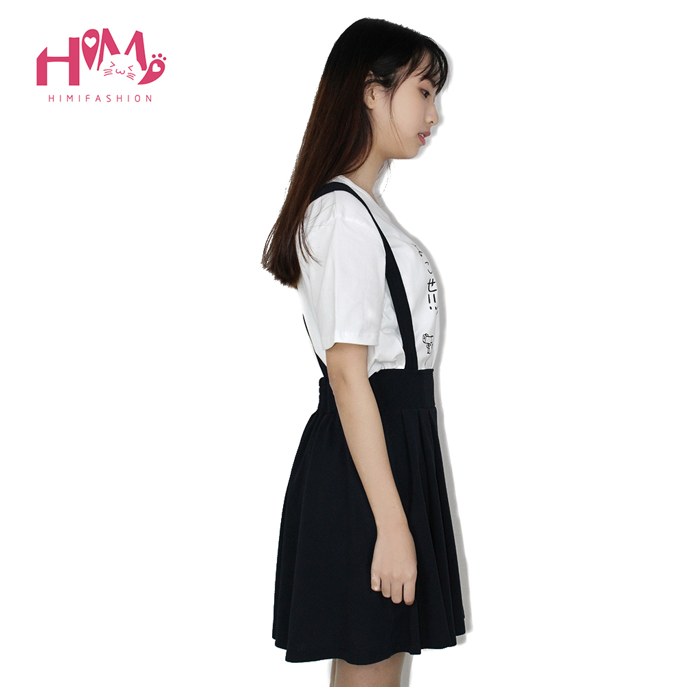 Japanese college suspenders skirt strap skirt all match pleated cotton for school girl candy colors knee-length navy red green 4