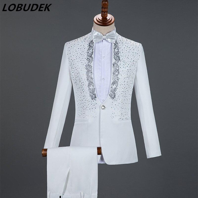 Angleterre Style formel hommes costumes 4 couleurs strass Blazers pantalons ensembles chanteur hôte Concert scène tenues de mariage robes de soirée