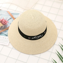 2019 Summer Fashion Beach Hat Female vintage letters embroidered Casual Lady Brand Women Flat brim Bowknot Straw cap girls Sun