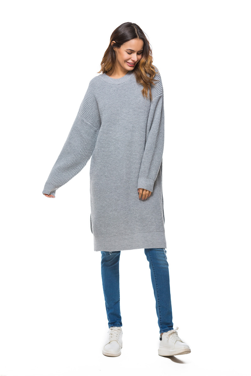 Fall Winter Vintage Mustard Side Slit Crochet Sweater Dress for Women Cute Ladies Retro Cosy Loose Split Pullover One Size 14